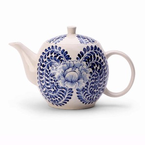 hand painted peony teapot
